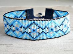 Bead Loom Bracelet Blue Loom Bracelet Loom by BeadWorkBySmileyKit