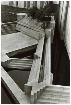 This reminds me of the combined ramp/stairway that zig-zags. Also, the ramp and stairs in Freeway Park in Seattle. — Tomba Brion Cemetery. San Vito d'Altivole, Italy. 1969-78. Carlo Scarpa