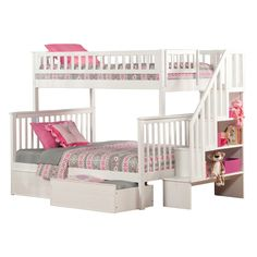 Atlantic Furniture Woodland Staircase Bunk Bed Twin over Full with Flat Panel Bed Drawers in White (Color)