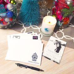 Writing thank you notes and burning the best @magnolia stocking stuffer candle! #thanksmom #chipandjojo