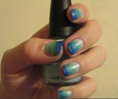 Blue gradient nails. So pretty and easy to do when you get the hang of it!    Nail Polish = Nail Art!