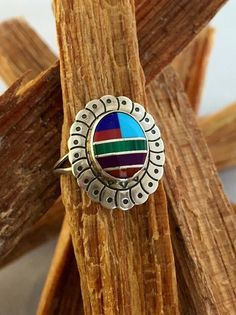 Zuni Ring Turquoise Sugalite Red Coral Sz 6 Inlaid by 22toddities