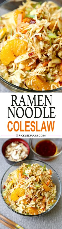 Ramen Noodle Coleslaw - Got 10 minutes? Make this deliciously crunchy, salty, sweet, nutty and citrusy ramen noodle coleslaw. Prepare to be blown away! Salad, Easy, Recipe | pickledplum.com
