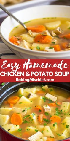 potato soup Homemade Chicken and Potato Soup is a quick and warming weeknight dinner. Homemade Potato Soup, Homemade Chicken Soup, Chicken Soup Recipes, Easy Soup Recipes, Cooking Recipes, Healthy Recipes, Potato Soup Recipes, Healthy Soup, Recipes Dinner