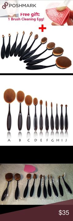 ⚡️✂️SALE 10pcs Make Up Brushes & Brush Cleaning Description: 100% Brand New & High quality. Can withstand 90 degree bend. Easy to carry,Portable, Multifunctional. Give you a flawless foundation application every single time. No streaks and no areas with too much makeup or too little. With a concave desigh,which is perfect for you to apply liquid foundation on your face Specifications: Type: Foundation Brush Quantity: 10pcs Makeup Brushes & Tools