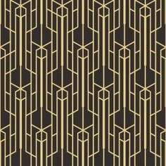 Gold art deco wallpaper pattern, perfect for creating a touch of extravagant detail to your interiors.