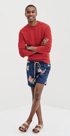 Bermuda Tropical Masculina, Bermuda Resort. Macho Moda - Blog de Moda Masculina: SHORTS TROPICAL MASCULINO: Dicas de Looks pra Inspirar e Onde Encontrar, Moda para Homens, Tendências Verão Moda Masculina, Roupa de Homem Verão 2018, Suéter de Tricô, Sandália Masculina