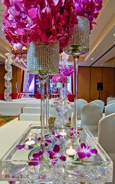 fuchsia and crystal votive centerpiece