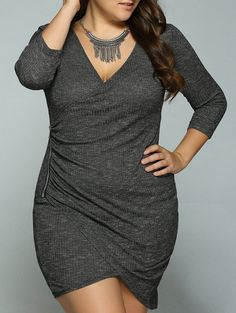 Plus Size Zipper Up Fitted Tulip Dress