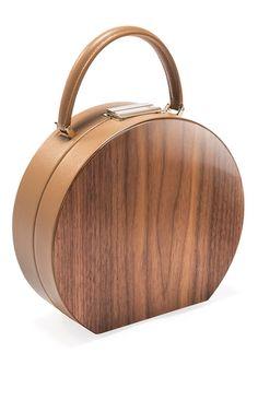 American Walnut Wood Camel Bumi 22 Top Handle Bag by BUWOOD for Preorder on Moda Operandi