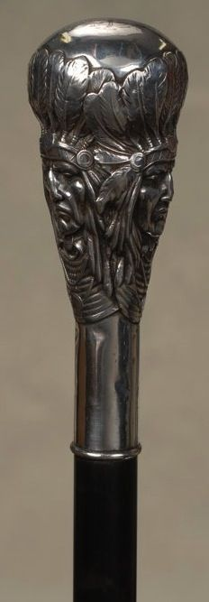 Unger Brothers sterling silver cane handle with Indian Chief