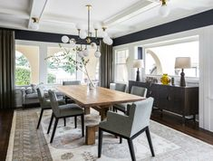 A moody living and dining room by Brian Paquette Dining Room Colors, Dining Room Lighting, Dining Room Design, Dining Room Furniture, Dining Room Table, Dining Area, Dining Rooms, Beautiful Kitchens, Interior Design Inspiration