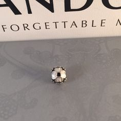 Pandora Gray Enamel Flower Authentic  in in like new condition. Pandora Jewelry Bracelets