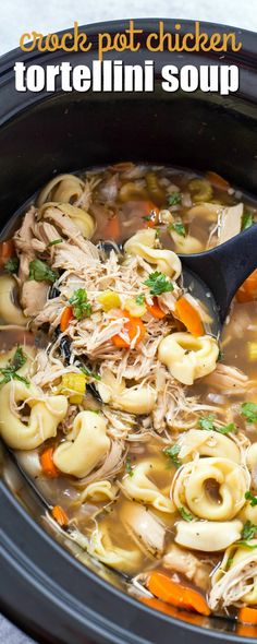 CROCK POT CHICKEN TORTELLINI SOUP is the easiest chicken noodle soup you will ever make! It's sure to become a fall and winter staple at your house! via @realhousemoms