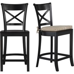 Vintner Black Barstool and Latte Stripe Cushion in Dining, Kitchen Barstools | Crate and Barrel