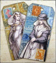 2 Original Altered Art Collage tags no 2 by LandofNodStudios, $9.95