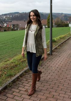 Casual Peplum with a Statement Necklace, Cargo Vest, Skinnies, and Brown Boots. Fall Fashion. Countdown to Friday.