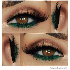 Nude and green eye makeup for brown eyes ❤ liked on Polyvore featuring beauty products, makeup and eye makeup