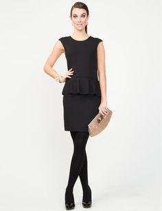 Black pleplum dress