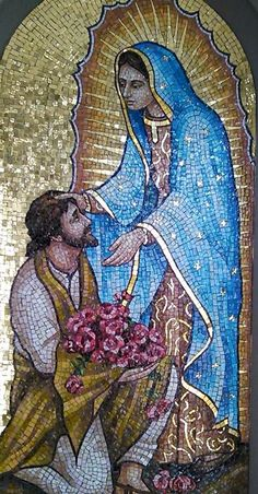 Nuestra Reina, Madre y Señora de Guadalupe y Juan Diego, santo. Our Lady of Guadalupe with St. Blessed Mother Mary, Divine Mother, Blessed Virgin Mary, Religious Images, Religious Icons, Religious Art, Catholic Art, Catholic Saints, San Juan Diego