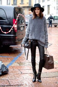 Diana Moldovan street style with leather pants.