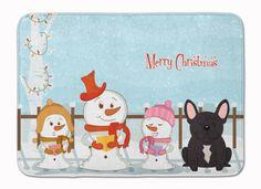 Merry Christmas Carolers French Bulldog Brindle Machine Washable Memory Foam Mat BB2340RUG