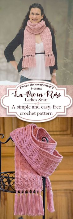 This beautiful, free crochet scarf pattern for women is simple and easy to follow, and is the perfect DIY gift to make this winter! There are a couple of finishing options, including tassels. #freecrochetpattern #crochetpattern #scarf #CrochetScarf