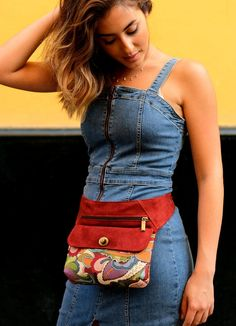 Cool fanny pack upholstery fabric, Canvas waist bag with vegan suede, Woman utility belt bag - sablon Cool Fanny Packs, Toms Espadrilles, Pointed Toe Block Heel, Small Crossbody Bag, Different Fabrics, Casual, Bags, Leather Bag, Upholstery