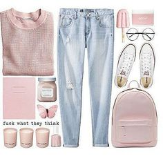 Boyfriend jeans. Basic pastel pink sweater. Converse. Style. Look. OOTD.