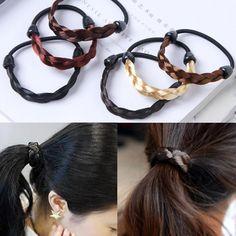 12x Girl Rabbit Ear Scrunchies Hair Band Rope Elastic Tie Ponytail Holder Lot AB
