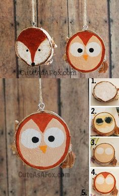 Fallow instructions from image and make this type of decoration for your house. Use wood slices and paint on them whatever you want.