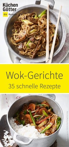 Wok dishes are quick and easy to prepare, always tasty and also healthy. Try our collection of quick wok dishes and bring Asian cuisine to your home. Quick wok dishes Recipes for the wok Küchengötter kuechengoetter Asiatische Köstlichkeiten Wok dis Wok Recipes, Turkey Recipes, Grilling Recipes, Vegetable Recipes, Baby Food Recipes, Seafood Recipes, Asian Recipes, Healthy Recipes, Dishes Recipes