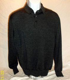 Alan Flusser Men's XL Polo Sweater 100% Merino Wool Gray Grey Long Sleeve #AlanFlusser #Polo