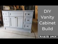 Today we build the vanity cabinet for my uncle and aunt's bathroom remodel. Watch from start to finish how Tom gets it done and shows you how you can build o. Drawer Shelves, Closet Shelves, Hybrid Table Saw, Kitchen Cabinet Crown Molding, Built In Vanity, Upstairs Bathrooms, Master Bathroom, Diy Vanity, Built In Cabinets