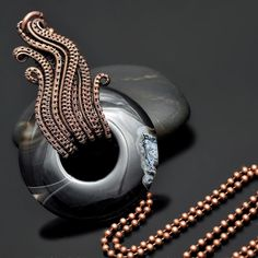 Wave Wire Wrap Pendant, Agate Donut - Nicole Hanna Jewelry