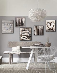 """Bildschön! Neue Inspiration für eure vier Wände: Das Leinwandbilder-Set  """"Home sweet Home"""" bringt mit tollen Natur- und Herz-Motiven neue Gemütlichkeit in euer Zuhause. Passt perfekt zum modernen Landhausstil und zu skandinavisch geprägten Einrichtungen."""