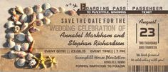 #save_the_date beach wedding invitations. boarding pass style w/ seashells.