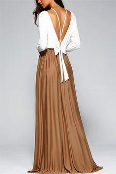 $16.93 Fashionable Long Sleeve Lace-Up Backless Maxi Dress