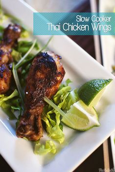 Recipe: Chicken Recipes / Slow Cooker Asian Lettuce Cups and Thai Chicken Wings - tableFEAST Cooks Slow Cooker, Crock Pot Slow Cooker, Slow Cooker Recipes, Crockpot Recipes, Cooking Recipes, Slow Cooker Thai Chicken, Crock Pot Food, Lettuce Cups, Chicken Wing Recipes
