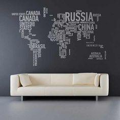 Карты мира в интерьере