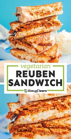 Need some new vegetarian sandwich inspiration? Dive into this vegetarian Seitan Reuben Sandwich, complete with Swiss cheese, thousand islands dressing, and sauerkraut! It's a flavor packed healthy lunch idea that's easy to make (and perfect for St. Patrick's Day!). #vegetarian #sandwich #reuben #stpatricksday Vegetarian Sandwich Recipes, Vegan Sandwiches, Vegetarian Main Dishes, Vegetarian Lunch, Veggie Recipes, Lunch Recipes, Dinner Recipes, Healthy Recipes, Fun Food