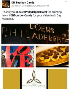 Thank you #LoewsPhiladelphiaHotel for ordering from #DBDourbonCandy for your Valentine's Day weekend.