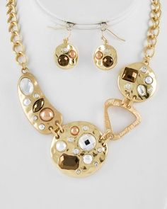 Gold Two-tone Metal / Bronze Acrylic & Brown Synthetic Pearl / Lead Compliant / Necklace & Fish Hook Earring Set