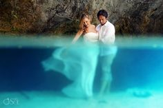 Riviera Maya underwater cenote trash the dress shoot with newlyweds! Mexico wedding photographers Del Sol Photography