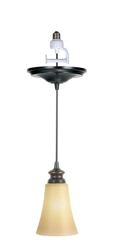 Amber suede glass shade with traditional lampcup in brushed bronze finish.
