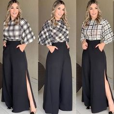 Loose palazzo high waist wide leg pant with pleated detail Modest Fashion, Hijab Fashion, Fashion Dresses, Classy Outfits, Chic Outfits, Mode Hijab, Elegant Outfit, Look Chic, Dress Patterns