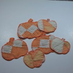 cutter quilt vintage quilted pumpkin Christmas ornaments Halloween oranges cream abstract folk art fabric textiles embroidered