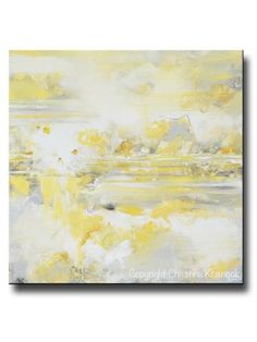 "ORIGINAL Art Yellow Grey Abstract Painting Modern Coastal White Gold Neutral Wall Decor 36x36"""