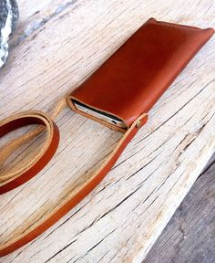 Neck strap classic branch brown leather iphone wallet on Etsy, £17.37