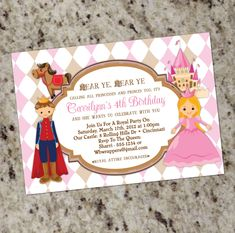Princess and Prince - Birthday Party Invitations - Calling All Princesses and Princes. $12.99, via Etsy.